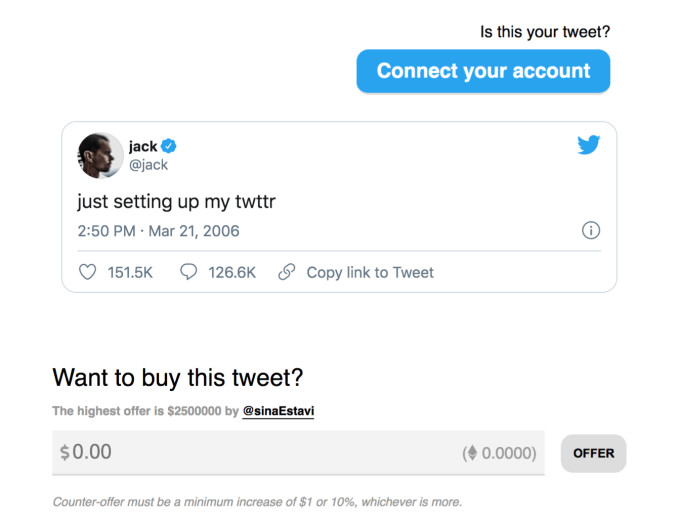 CEO Twitter - Jack Dorsey is auctioning the first tweet as an NFT and the highest bid is $2.5 million